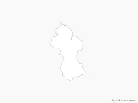 Free Vector Map of Guyana - Outline