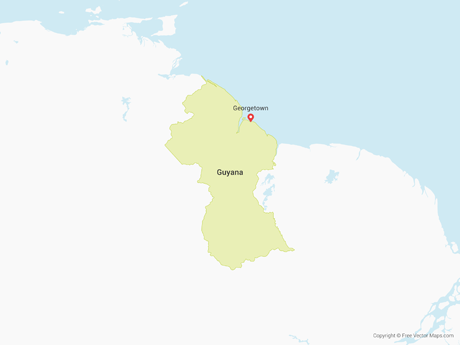 Free Vector Map of Guyana