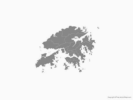 Free Vector Map of Hong Kong with Districts - Single Color