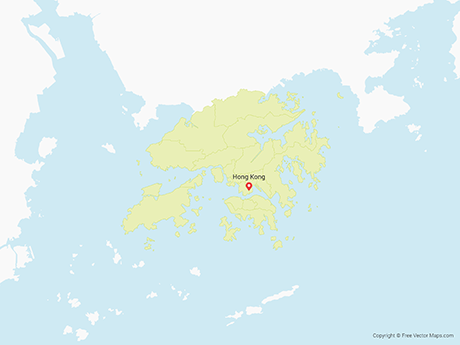 Free Vector Map of Hong Kong with Districts