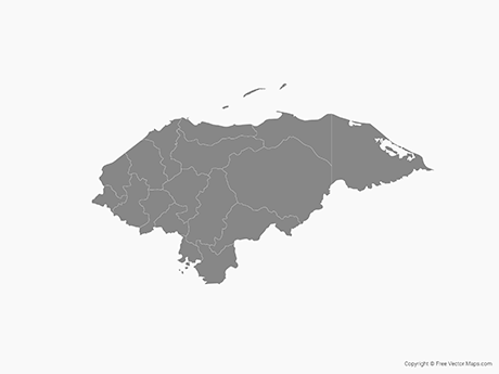 Free Vector Map of Honduras with Departments - Single Color