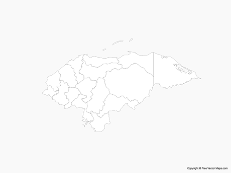 Free Vector Map of Honduras with Departments - Outline