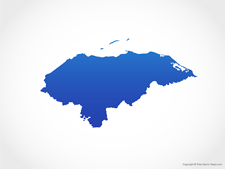 Free Vector Map of Honduras - Blue