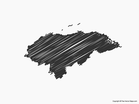 Free Vector Map of Honduras - Sketch