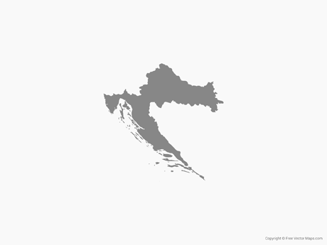 Free Vector Map of Croatia - Single Color
