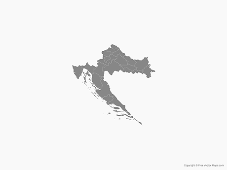 Free Vector Map of Croatia with Counties - Single Color