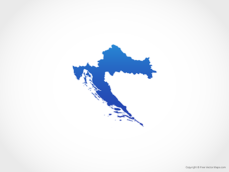 Free Vector Map of Croatia - Blue