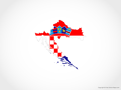 Free Vector Map of Croatia - Flag