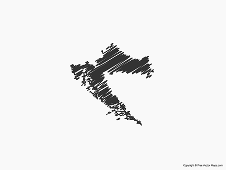 Free Vector Map of Croatia - Sketch