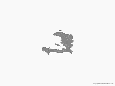 Free Vector Map of Haiti with Departments - Single Color