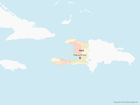 Free Vector Map of Haiti with Departments - Multicolor