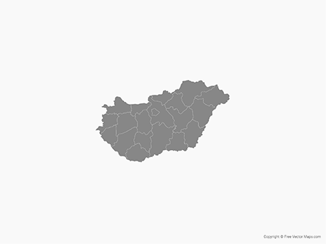 Free Vector Map of Hungary with Administrative Divisions - Single Color