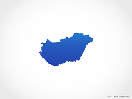 Free Vector Map of Hungary - Blue