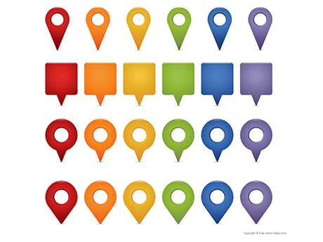 Map Markers Set - Multicolor