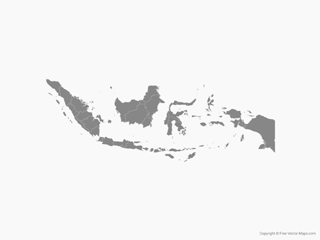 Map of Indonesia with Provinces - Single Color