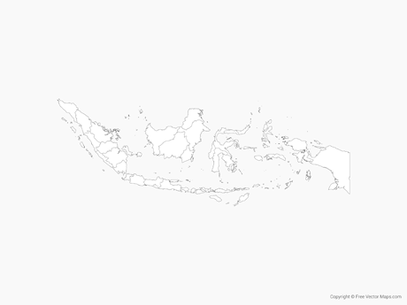 Free Vector Map of Indonesia with Provinces - Outline