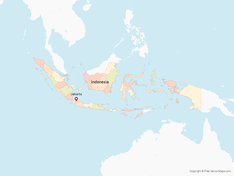 Free Vector Map of Indonesia with Provinces - Multicolor