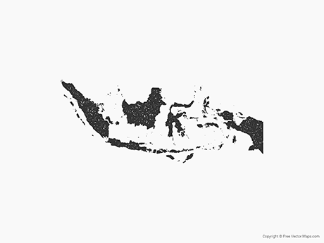 Free Vector Map of Indonesia - Stamp
