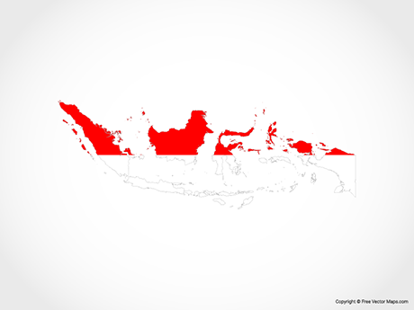 Map of Indonesia - Flag