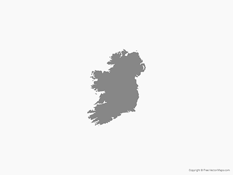 Free Vector Map of Ireland - Single Color