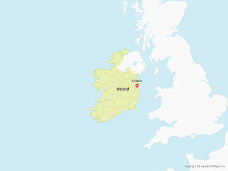 Free Vector Map of Republic of Ireland with Counties