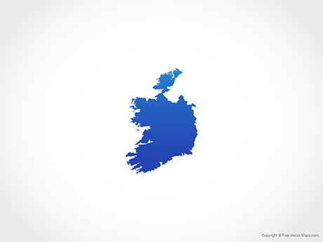 Free Vector Map of Republic of Ireland - Blue