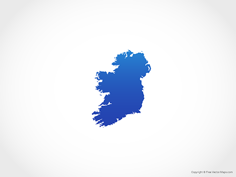Free Vector Map of Ireland - Blue