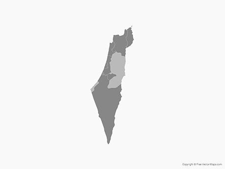 Free Vector Map of Israel & Palestinian Territories with Districts - Single Color