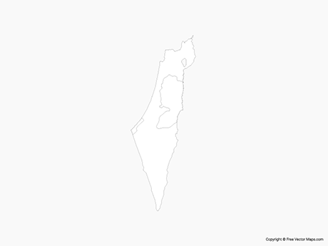 Free Vector Map of Israel & Palestinian Territories - Outline