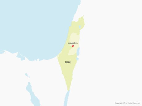 Free Vector Map of Israel & Palestinian Territories
