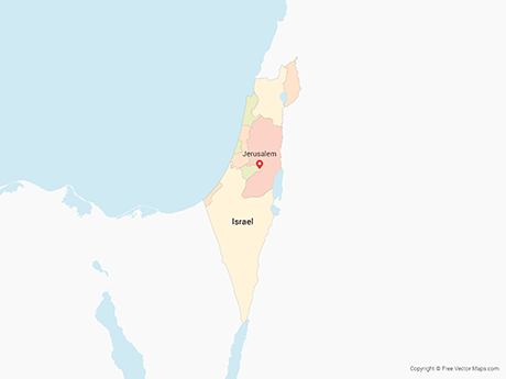 Free Vector Map of Israel & Palestinian Territories with Districts - Multicolor