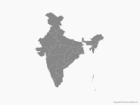 Free Vector Map of India with States - Single Color