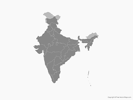 Free Vector Map of India with States (Disputed Areas) - Single Color