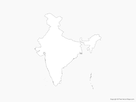 Free Vector Map of India - Outline