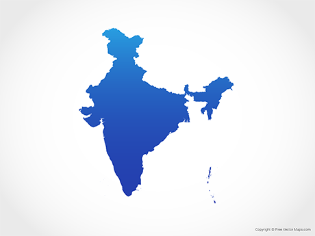 Free Vector Map of India - Blue
