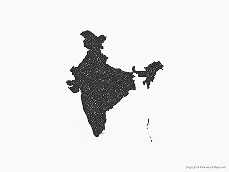 Free Vector Map of India - Stamp