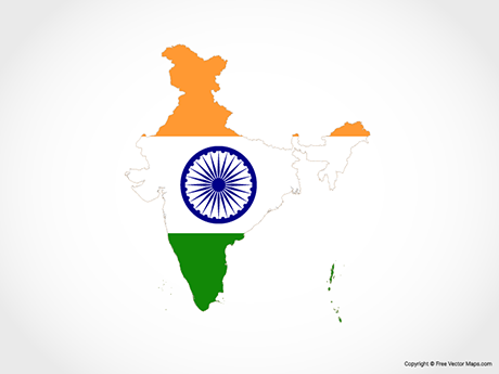 Free Vector Map of India - Flag