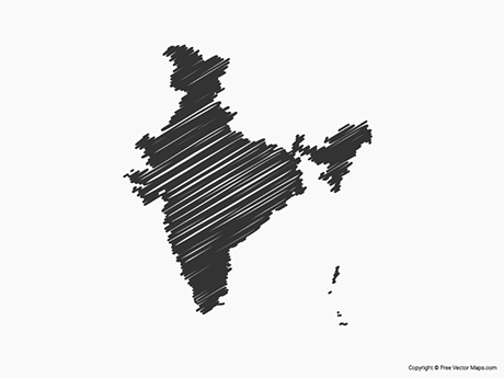 Free Vector Map of India - Sketch