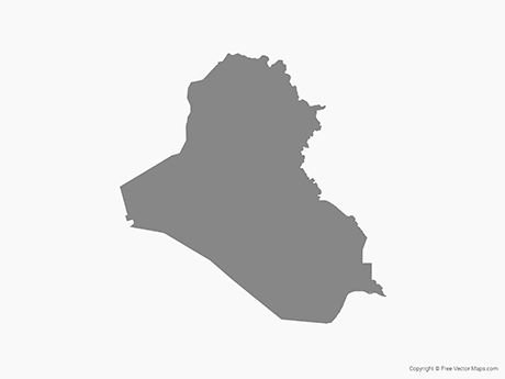 Free Vector Map of Iraq - Single Color