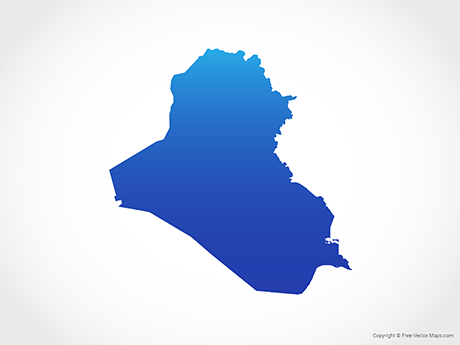 Free Vector Map of Iraq - Blue