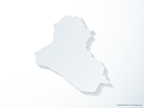 Free Vector Map of Irag - 3D