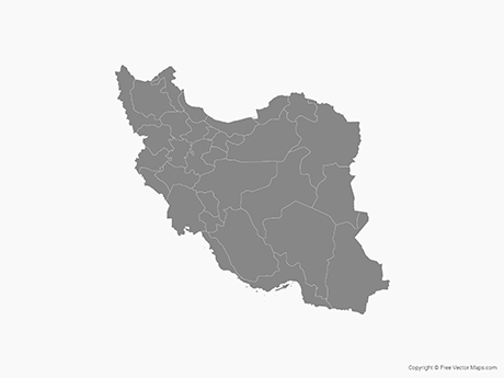 Free Vector Map of Iran with Provinces - Single Color