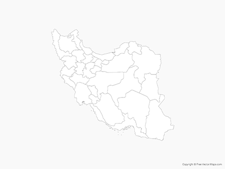 Free Vector Map of Iran with Provinces - Outline