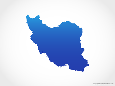 Free Vector Map of Iran - Blue