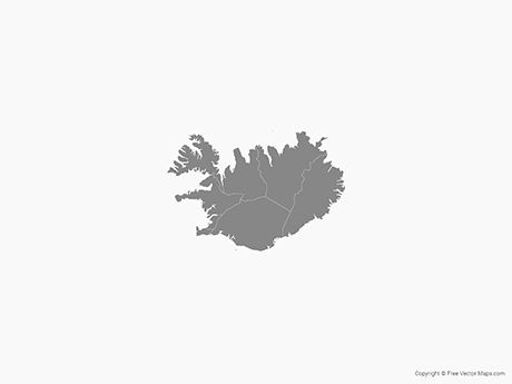 Free Vector Map of Iceland with Regions - Single Color