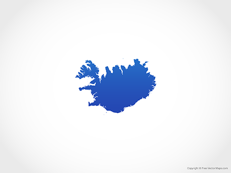 Free Vector Map of Iceland - Blue