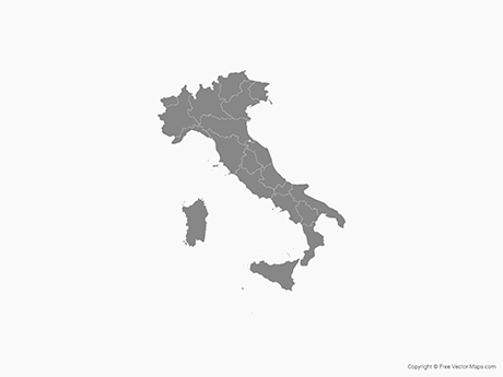 Free Vector Map of Italy with Regions - Single Color