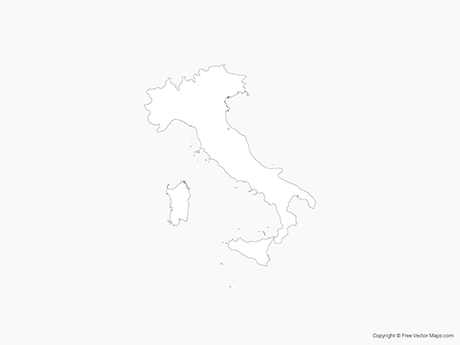 Free Vector Map of Italy - Outline