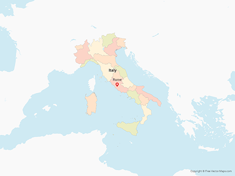 Free Vector Map of Italy with Regions - Multicolor