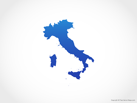 Free Vector Map of Italy - Blue